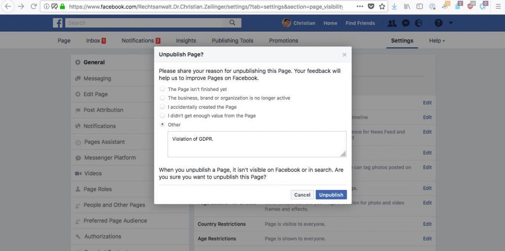 Facebook Unpublish